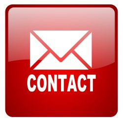 contact red square glossy web icon on white background